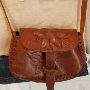 Vintage Hand Tooled Brown Leather Crossbody  Bag